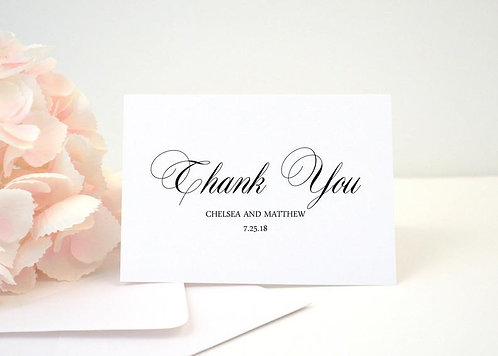 CLASSIC SCRIPT Thank You Cards + Envelopes with Return Addressing   Set of 10