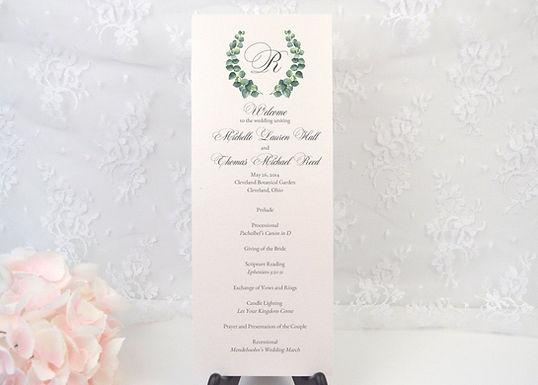 EUCALYPTUS WREATH Ceremony Wedding Programs (Set of 20)