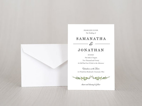 Laurel Leaves Wedding Invitation Set