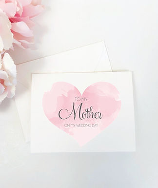 WATERCOLOR HEART | For My Mother on My Wedding Day Card & Envelope