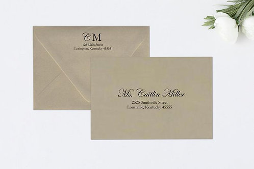 MODERN MONOGRAM Addressed Envelopes Style #108 (Set of 20)