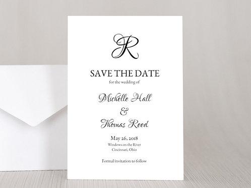 FORMAL MONOGRAM Wedding Invitation & RSVP Card w/ Envelopes (Set of 20)