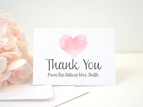 WATERCOLOR HEART Thank You Cards & Envelopes (Set of 10)