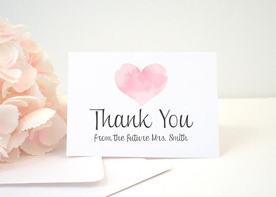WATERCOLOR HEART Thank You Cards + Envelopes with Return Addressing | Set of 10