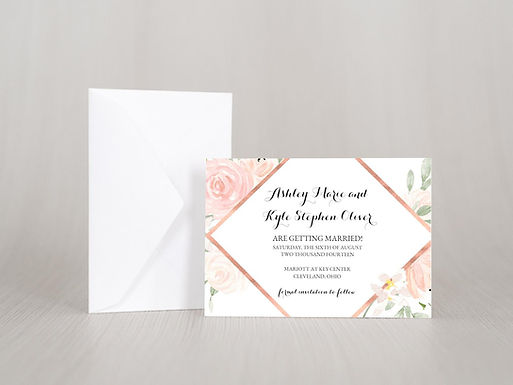 FLORAL ELEGANCE Save the Date Invitation & Envelope (Set of 20)