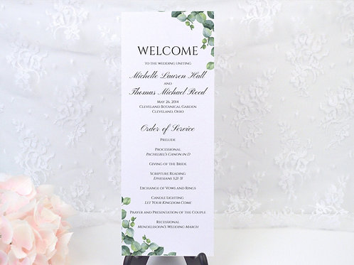 Elegant Eucalyptus Ceremony Program