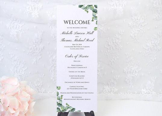 ELEGANT EUCALYPTUS Ceremony Wedding Programs (Set of 20)