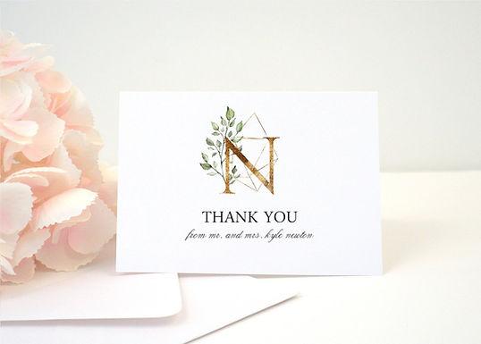 GEOMETRIC MONOGRAM Thank You Card + Envelopes with Return Addressing | Set of 10