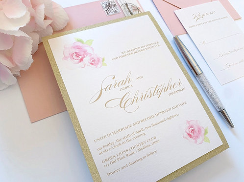 Elegant Floral Watercolor Wedding Invitation with Gold Glitter and Blush Pink by Red Heart Paper Wedding Invitations