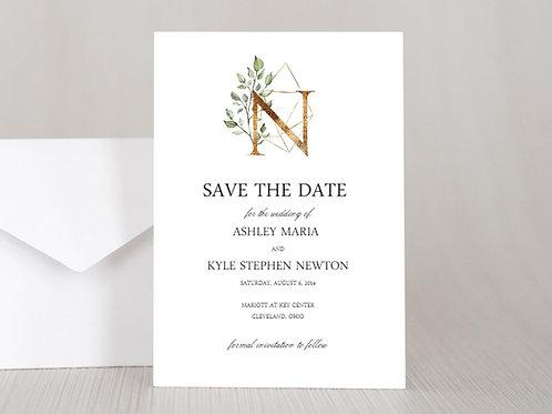 GEOMETRIC MONOGRAM Wedding Invitation &  RSVP Card w/ Envelopes (Set of 20)