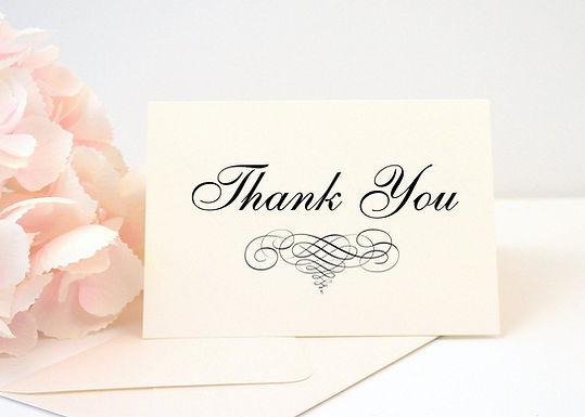 ELEGANT SCROLL Thank You Cards & Envelopes (Set of 10)