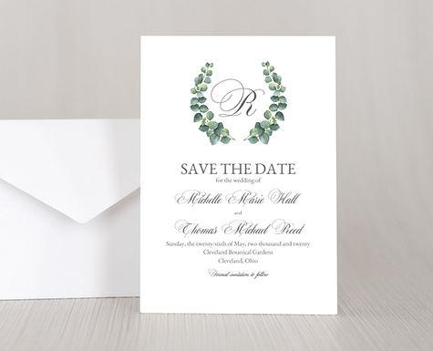 EUCALYTUS WREATH Wedding Invitation & RSVP Card w/ Envelopes (Set of 20)