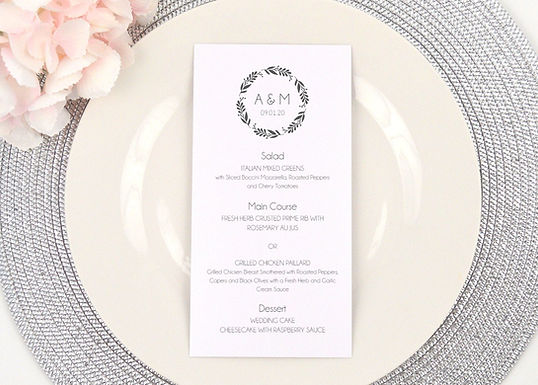 SIMPLE WREATH Menus (Set of 20)