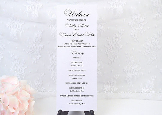CLASSIC SCRIPT Ceremony Wedding Programs  (Set of 20)