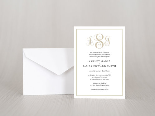 Simple Monogram Wedding Invitation Set