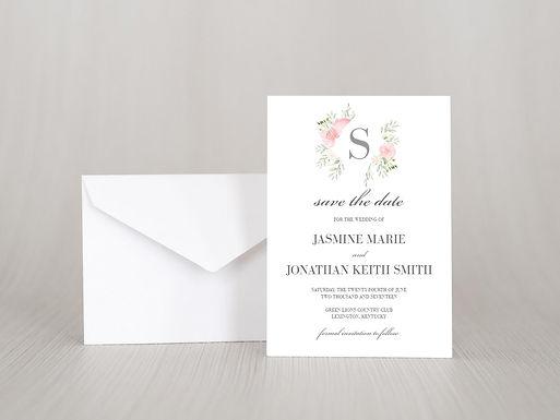 FLORAL FRAME Save the Date Invitation & Envelope (Set of 20)