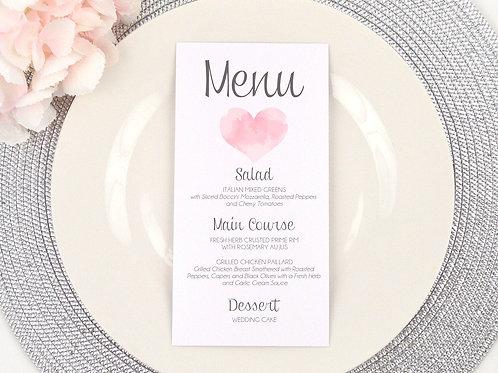 Watercolor Heart Wedding Menu