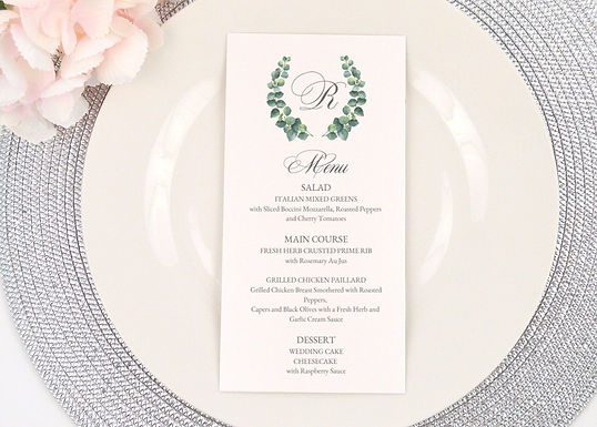 EUCALYPTUS WREATH Menus (Set of 20)
