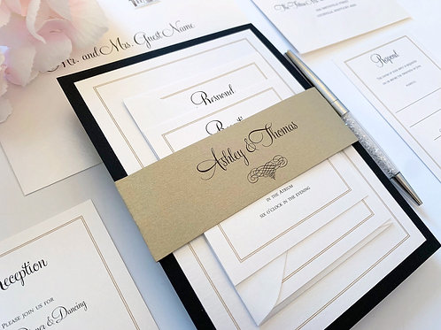 Elegant Scroll Gold Black and White Wedding Invitation by Red Heart Paper Wedding Invitations