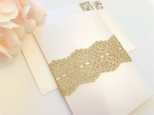 Elegant Gold Glitter Laser Cut Pocketfold Wedding Invitation in Ivory and Gold by Red Heart Paper Wedding Invitations