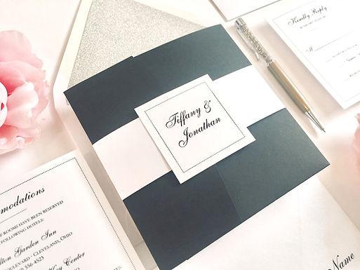 DOTS Pocketfold Wedding Invitation, RSVP & Details Card (Sample)
