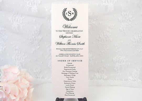 LAUREL WREATH Wedding Ceremony Programs (Set of 20)