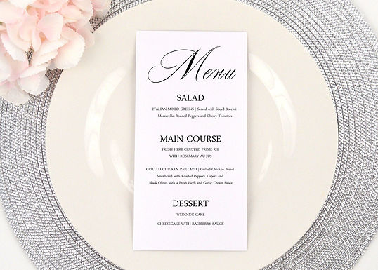 ELEGANT CALLIGRAPHY Menus (Set of 20)