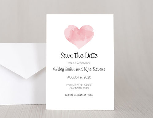 WATERCOLOR HEART Wedding Invitation & RSVP Card w/ Envelopes (Set of 20)