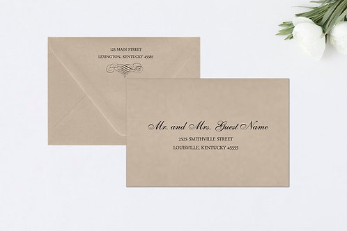 ELEGANT SCROLL A7 Envelope Addressing (Style #101) | Set of 10