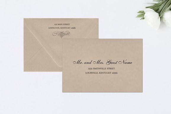 ELEGANT SCROLL Addressed Envelopes Style #101 (Set of 20)