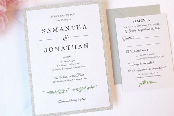 LAUREL LEAVES Layered Wedding Invitation & RSVP Card (Sample)