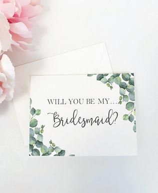 ELEGANT EUCALYPTUS | Will You Be My Bridesmaid Folded Card & Envelope