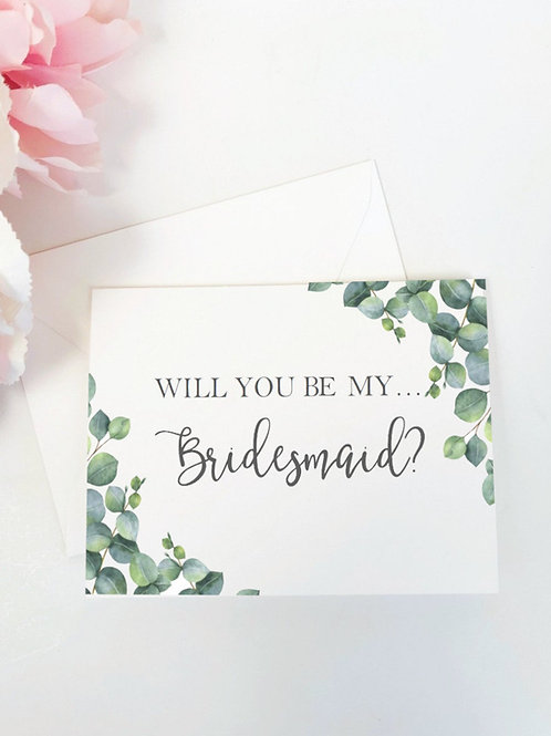 ELEGANT EUCALYPTUS | Will You Be My Bridesmaid Folded Card & Envelope