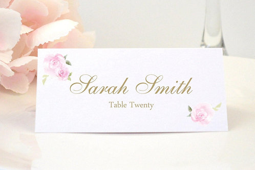 Pink Roses Place Card