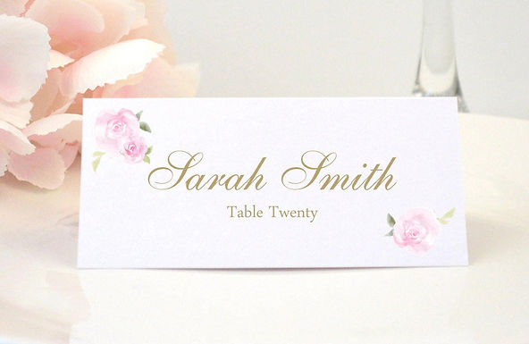 PINK ROSES Place Card (Set of 20)