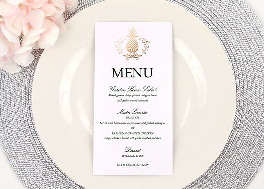 ELEGANT PINEAPPLE Menus (Set of 20)