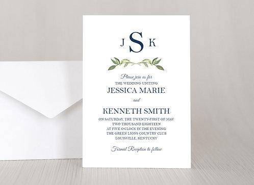 MONOGRAM LEAVES Wedding Invitation & RSVP Card w/ Envelopes | Set of 15
