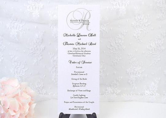 ELEGANT MONOGRAM Ceremony Wedding Programs (Set of 20)