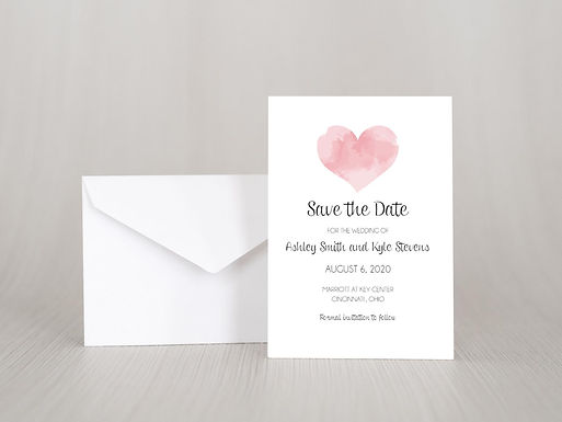 WATERCOLOR HEART Save the Date Invitation & Envelope (Set of 20)
