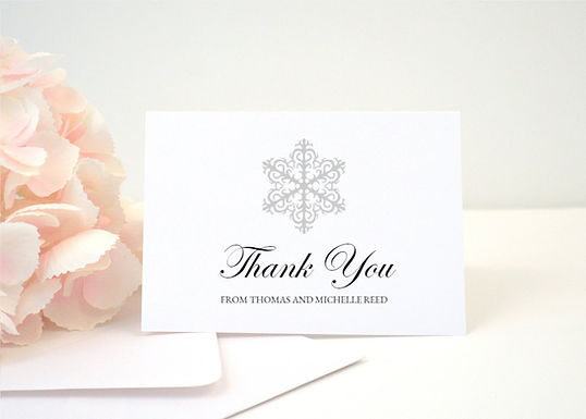 WINTER WONDERLAND Thank You Cards + Envelopes with Return Addressing | Set of 10