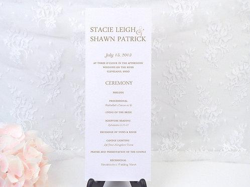 Simply Romantic Ceremony Program