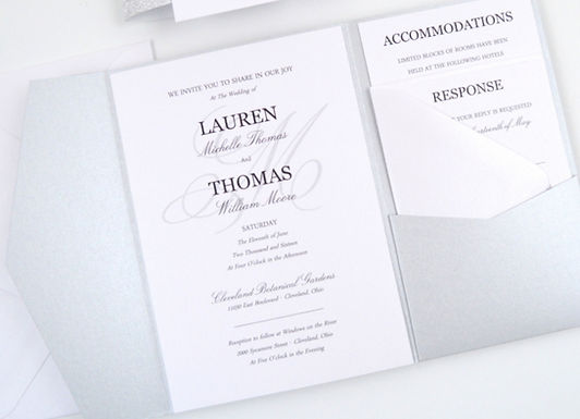 SIMPLE ELEGANCE Pocketfold Wedding Invitation, RSVP & Details Card (Sample)