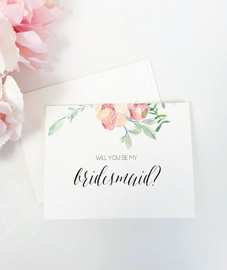 FLORAL WATERCOLOR | Will You Be My Bridesmaid Folded Card & Envelope