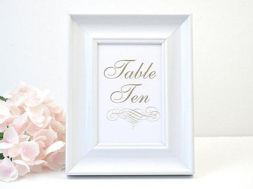 Elegant Scroll Table Number
