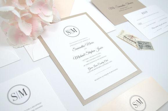 SAMANTHA Layered Wedding Invitation & RSVP Card (Sample)