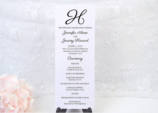 MODERN SCRIPT Ceremony Wedding Programs (Set of 20)