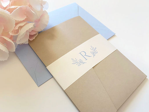 BRITTANY Pocketfold Wedding Invitation, RSVP & Details Card (