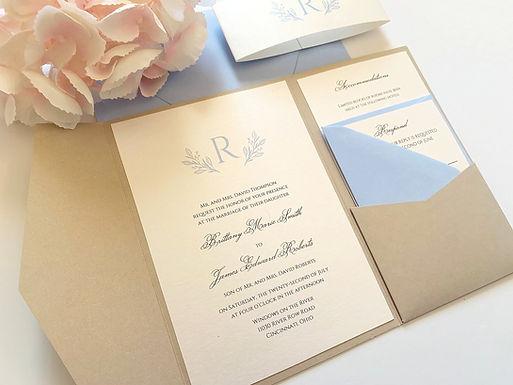 BRITTANY Pocketfold Wedding Invitation, RSVP & Details Card (