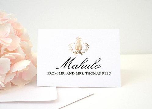 ELEGANT PINEAPPLE Thank You Cards + Envelopes with Return Addressing | Set of 10