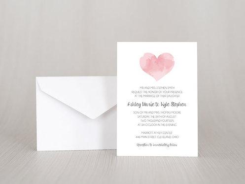 Watercolor Heart Wedding Invitation Set